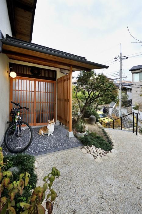 玄関と愛犬